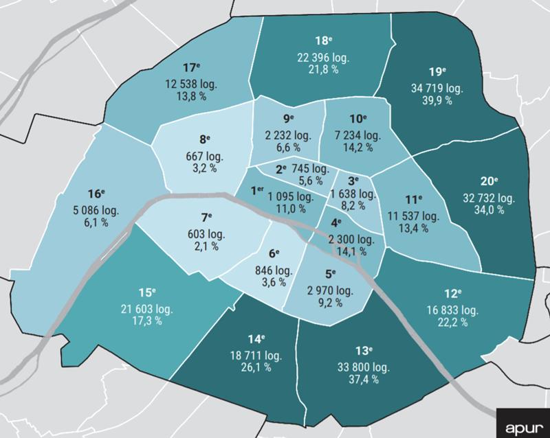 巴黎市各區社會住宅比例示意,很明顯比例高者(顏色深)多在外圍,為落實社會混和目標,巴黎是政府開始設法在低社宅比例地區(也是富人區)興建社宅。 圖/OURs都市改革組織;來源/APUR