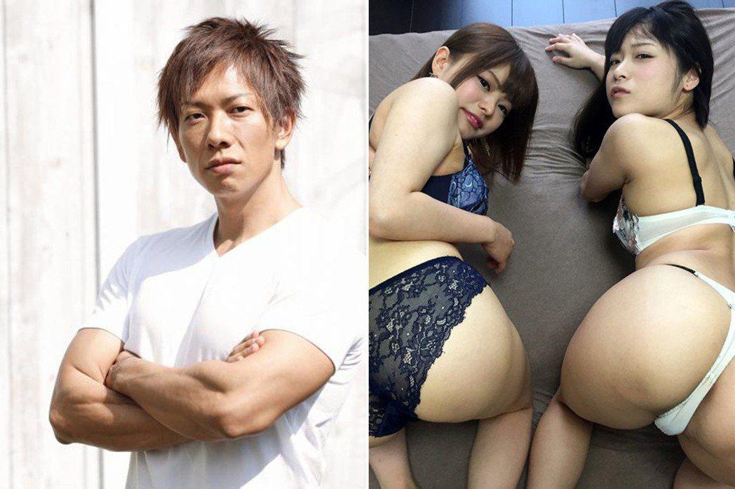 左:知名男優清水健,右:清水健當導演要玩的是逆3P。 圖片來源/twitter、...