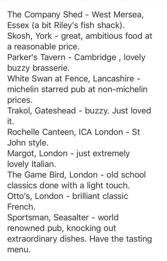 傑伊推薦給休的英國十大餐館清單。圖取自推特