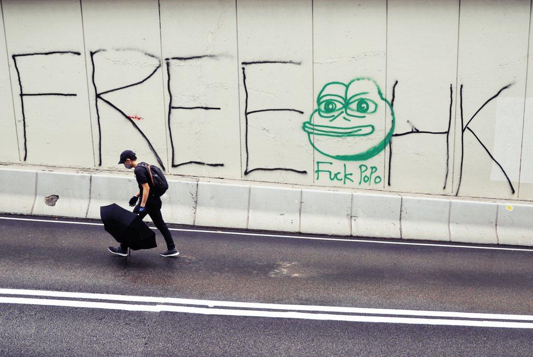牆上有著風行全港的Pepe青蛙,還有「HK Police They Rape O...
