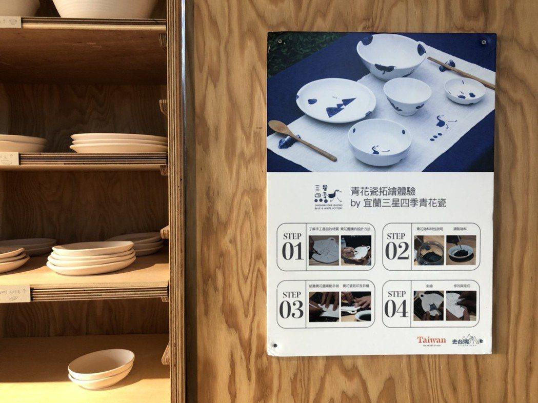 可挑選自己喜歡的器皿體驗青花瓷拓繪手作活動,每件作品500元起。
