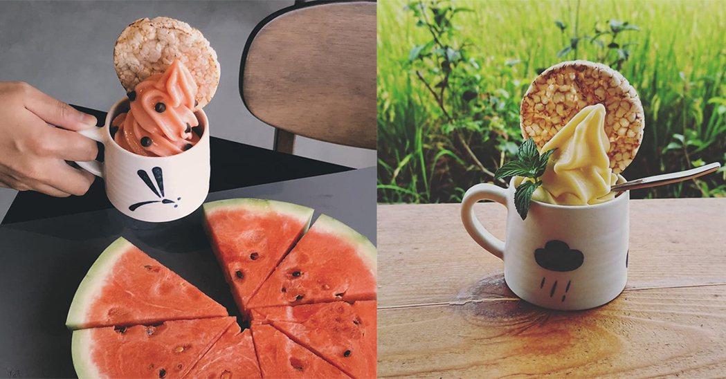 新鮮水果霜淇淋,配上天然米餅,根據不同季節做口味變化。圖/雀榕咖啡-小時家民宿粉...