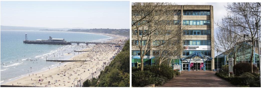 伯恩茅斯的海灘以及 Talbot 校區門口。圖/徐培峯 提供