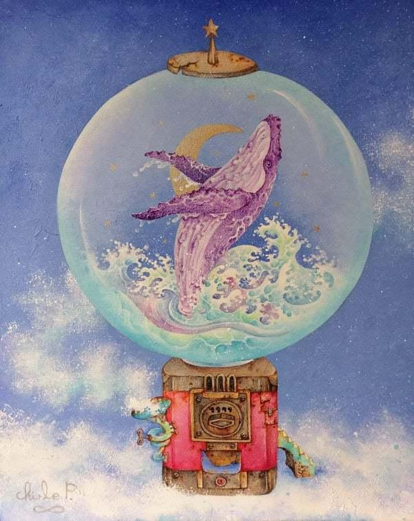 在插畫界滿有名氣的「查理宛豬」,將舉行「現在。鯨行式」個展,明天辦開幕式。圖/查...