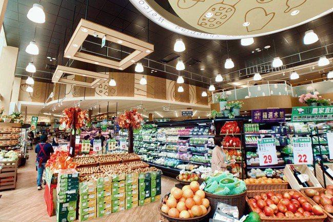 全聯台中市政店由日本設計師「西川隆」先生打造挑高、舒適的購物空間。記者張芳瑜/攝...