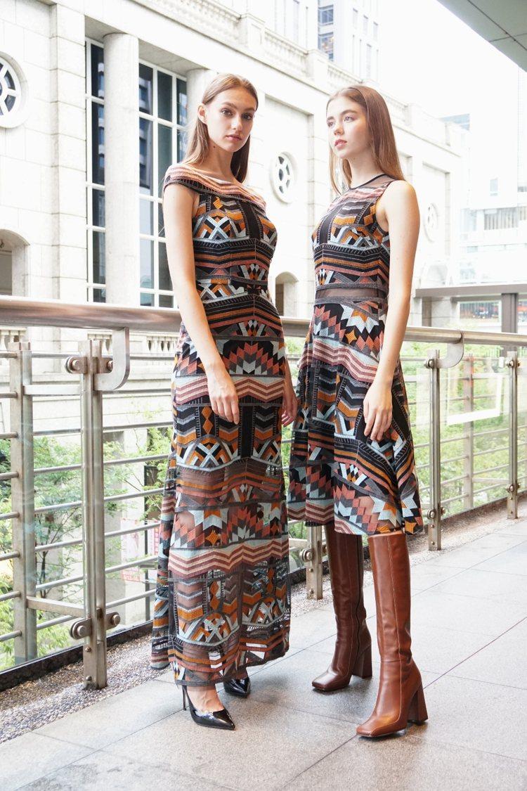 一字領裙裝是以針織、雪紡做為異材質混搭,並且有低調的透視性感。圖/MARYLIN...