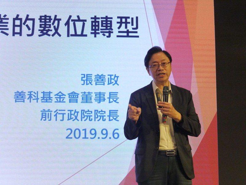 行政院前院長張善政今天在高雄市參加「台灣企業論壇」座談會。圖/本報系照片