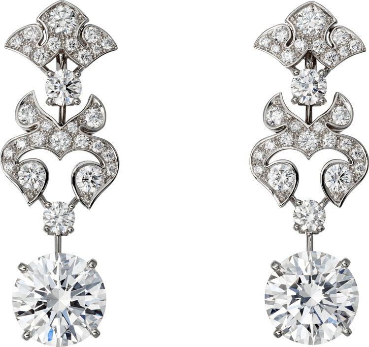 安娜貝爾華麗絲配戴的卡地亞頂級珠寶系列鑽石耳環,價格店洽。圖/卡地亞提供