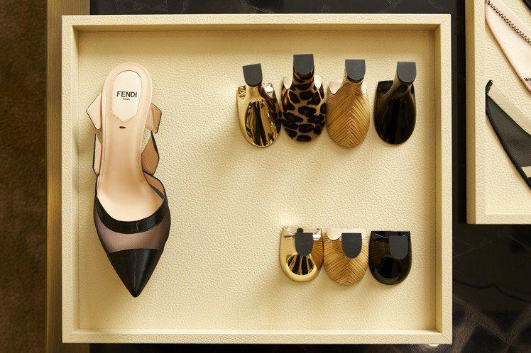 FENDI訂製高跟鞋鞋跟有黑色、淺金、豹紋印花和天然藤色等4種風格,鞋跟高度為5...