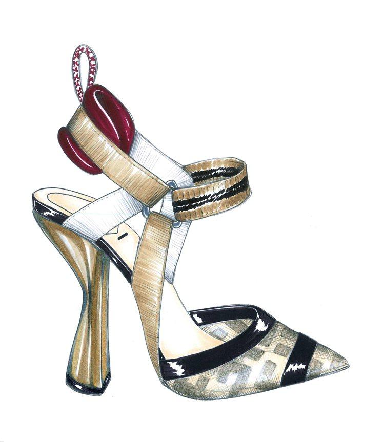 FENDI 訂製高跟鞋的設計圖。圖/FENDI提供