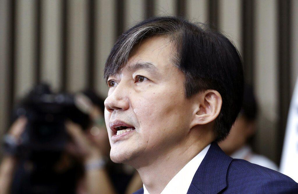 近半南韓民眾反對曹國出任法務部長。美聯社