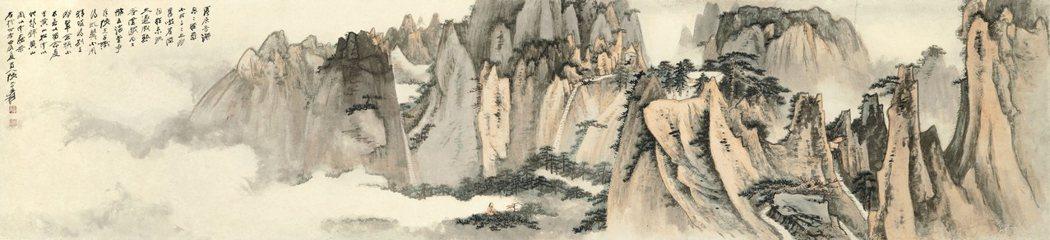 張大千送給陸羽茶室的臨別贈禮「黃山松雲」。圖/香港蘇富比提供