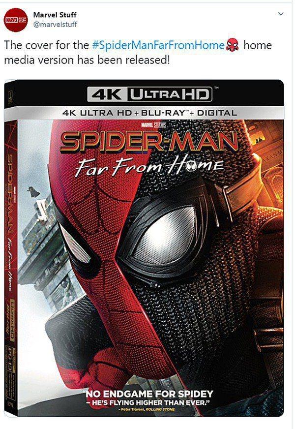 「蜘蛛人:離家日」目前釋出的美版DVD、藍光封面。圖/摘自推特