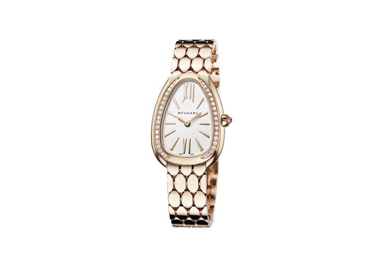 寶格麗Serpenti Seduttori玫瑰金鑲鑽腕表,入選第19屆日內瓦高級...