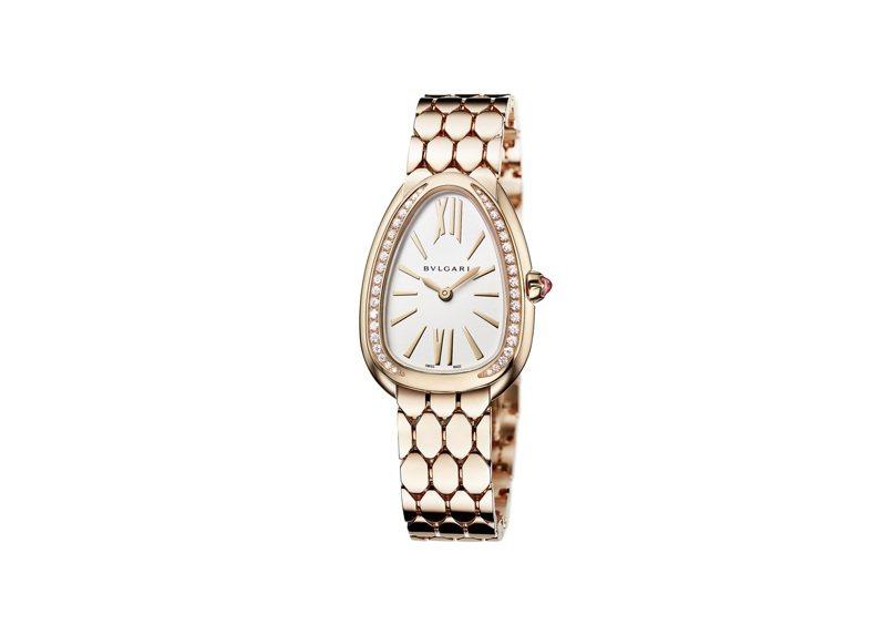 寶格麗Serpenti Seduttori玫瑰金鑲鑽腕表,入選第19屆日內瓦高級鐘表大賞最佳女表,約84萬5,000元。圖/BVLGARI提供