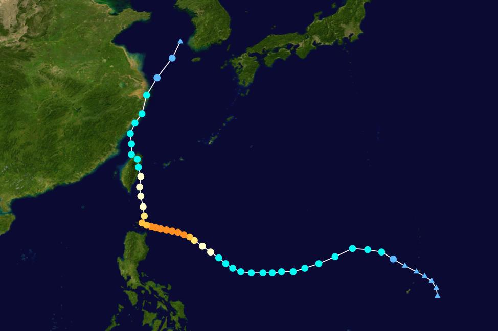 2004年敏督利颱風屬於第六類侵臺路徑。 圖/維基共享,春山出版提供