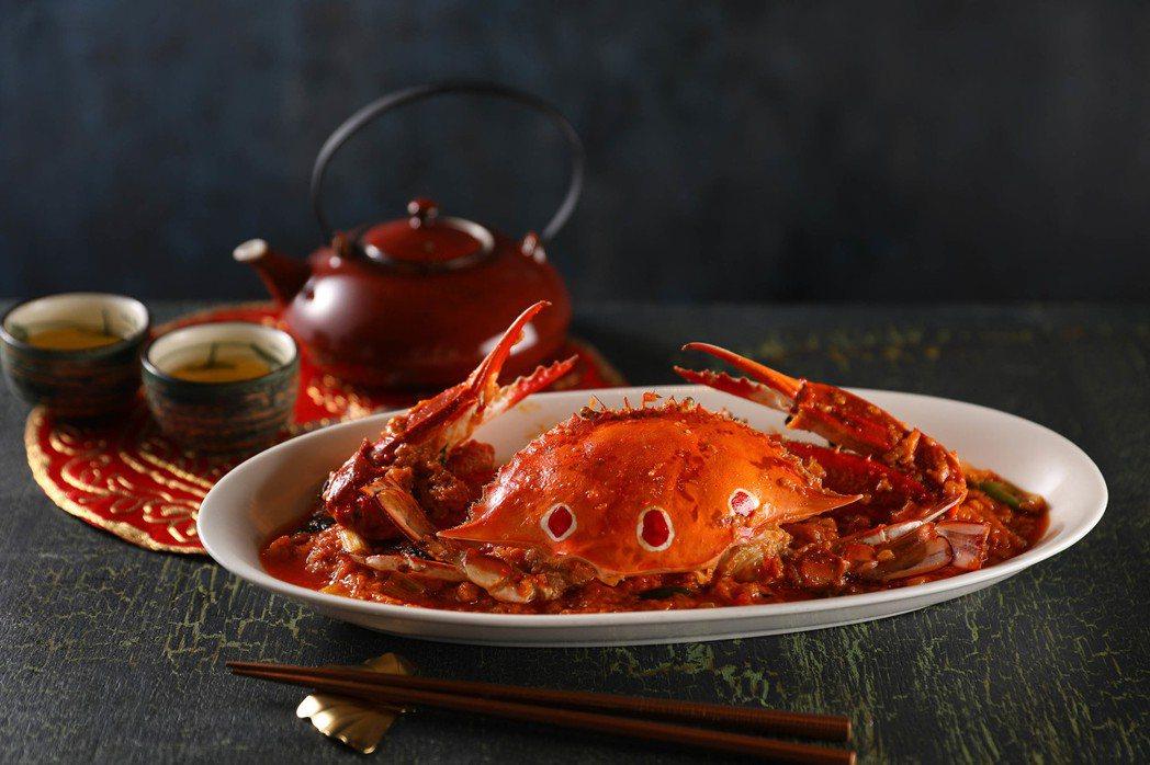望月樓-紅油咖哩炒三點蟹NT$580。