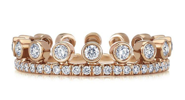 De Beers Dewdrop系列18K玫瑰金單行密釘鑲鑽戒環,約95,000...
