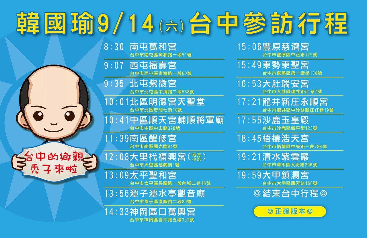 韓國瑜9/14台中行,預定18個行程。圖/韓國瑜辦公室提供