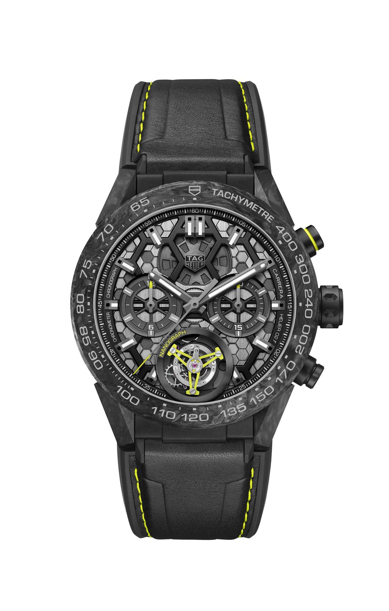 泰格豪雅Carrera Heuer 02T奈米圖騰陀飛輪腕表,碳纖維表殼,限量5...