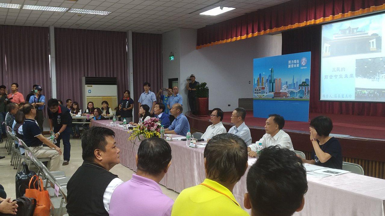 高雄市長韓國瑜今天到三民區舉行第4場高雄市長請益開講座談會。記者蔡孟妤/攝影