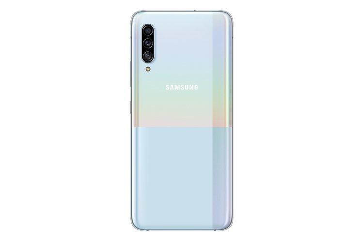 三星Galaxy A90 5G機背玻璃採用獨特的幾何圖案設計,共推出黑與白兩款經...