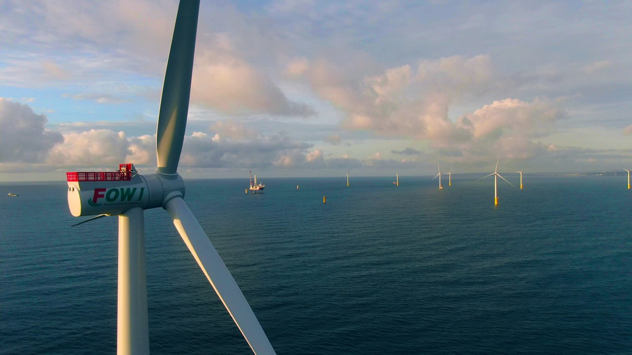 海洋風電第二階段首支風機已於本月5日發電運轉。(圖/海洋風電提供)
