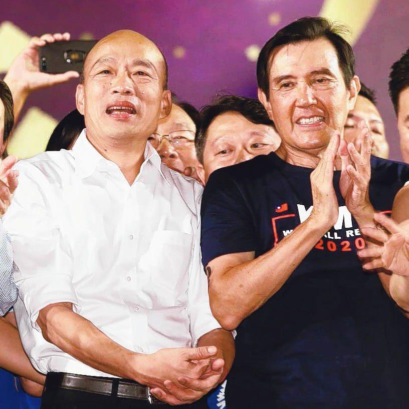 高雄市長韓國瑜三重造勢晚會,前總統馬英九(右)站台力挺。 記者曾原信/攝影