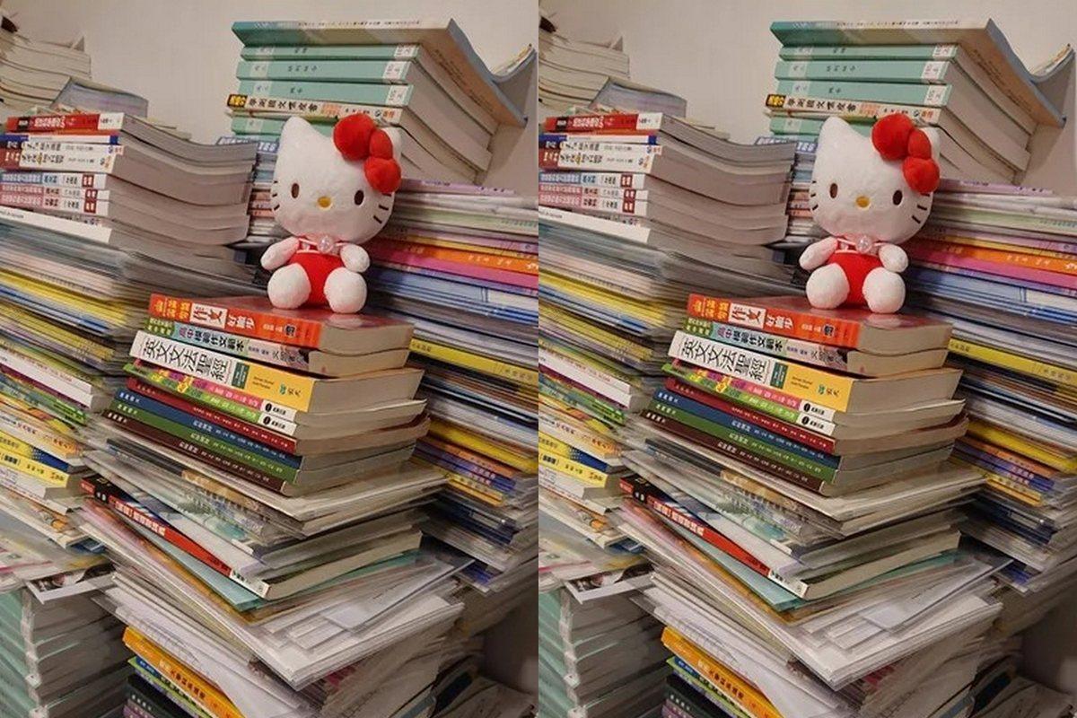 女考生曬出這些年的藏書。 圖擷自Dcard