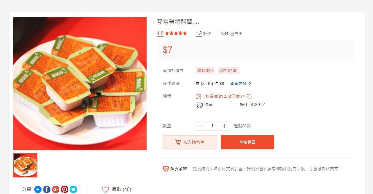 有人在蝦皮網站上販賣麥當勞糖醋醬,即便價格比直接到麥當勞買還高,但仍有不少人上網...