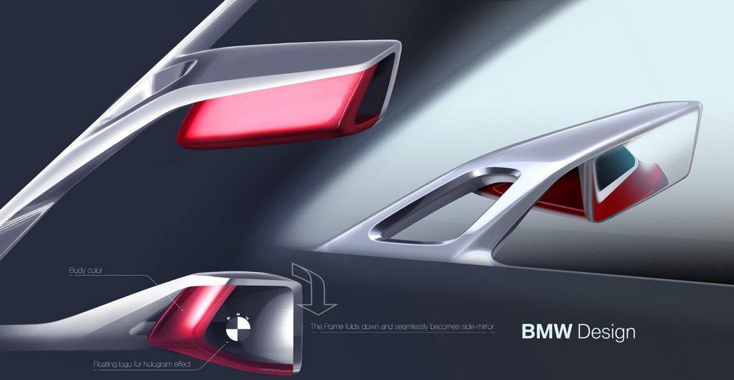 BMW Concept 4後視鏡上印有BMW廠徽。 摘自BMW