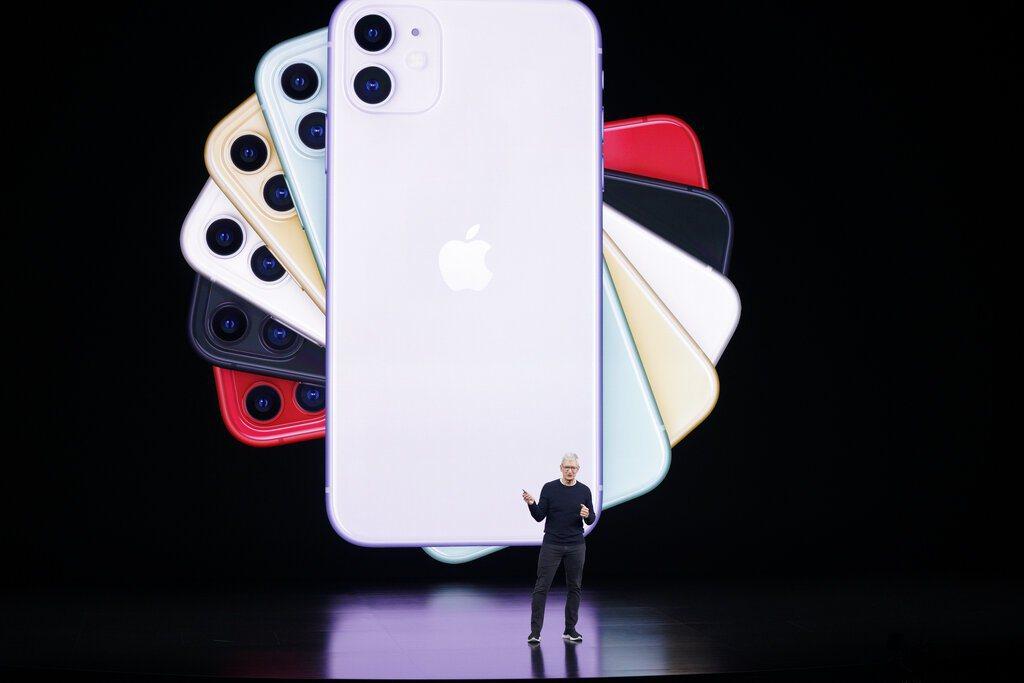 iPhone 11有六種顏色,包括白、黃、綠、黑、紅以及紫色。 美聯社