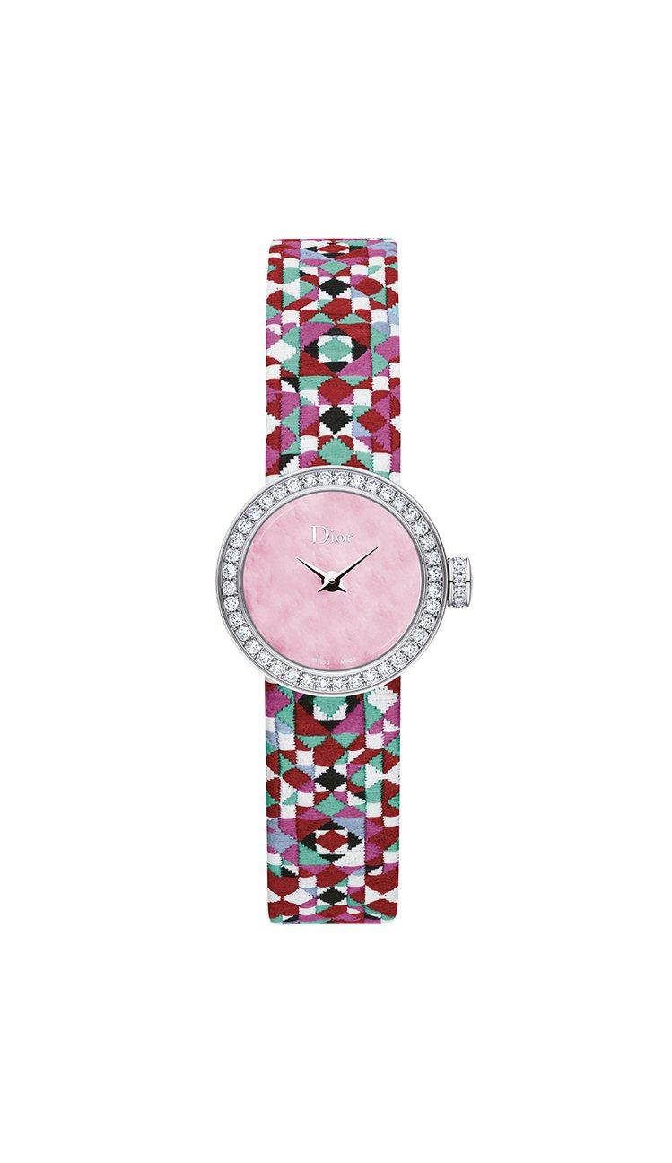迪奧La Mini D de Dior Mosaïque系列腕表,不鏽鋼表殼搭配...