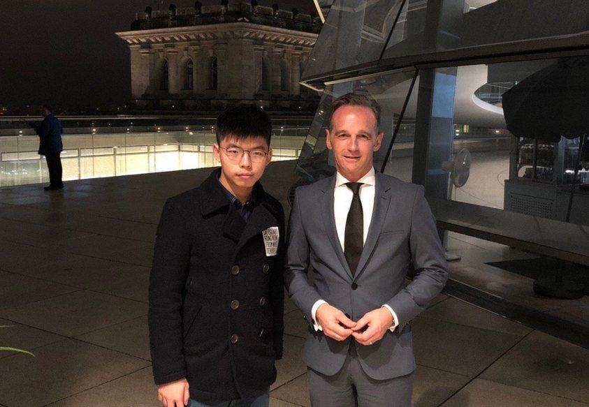 黃之鋒與德國外交部長馬斯(Heiko Maas)會面。圖/取自黃之鋒Twitte...