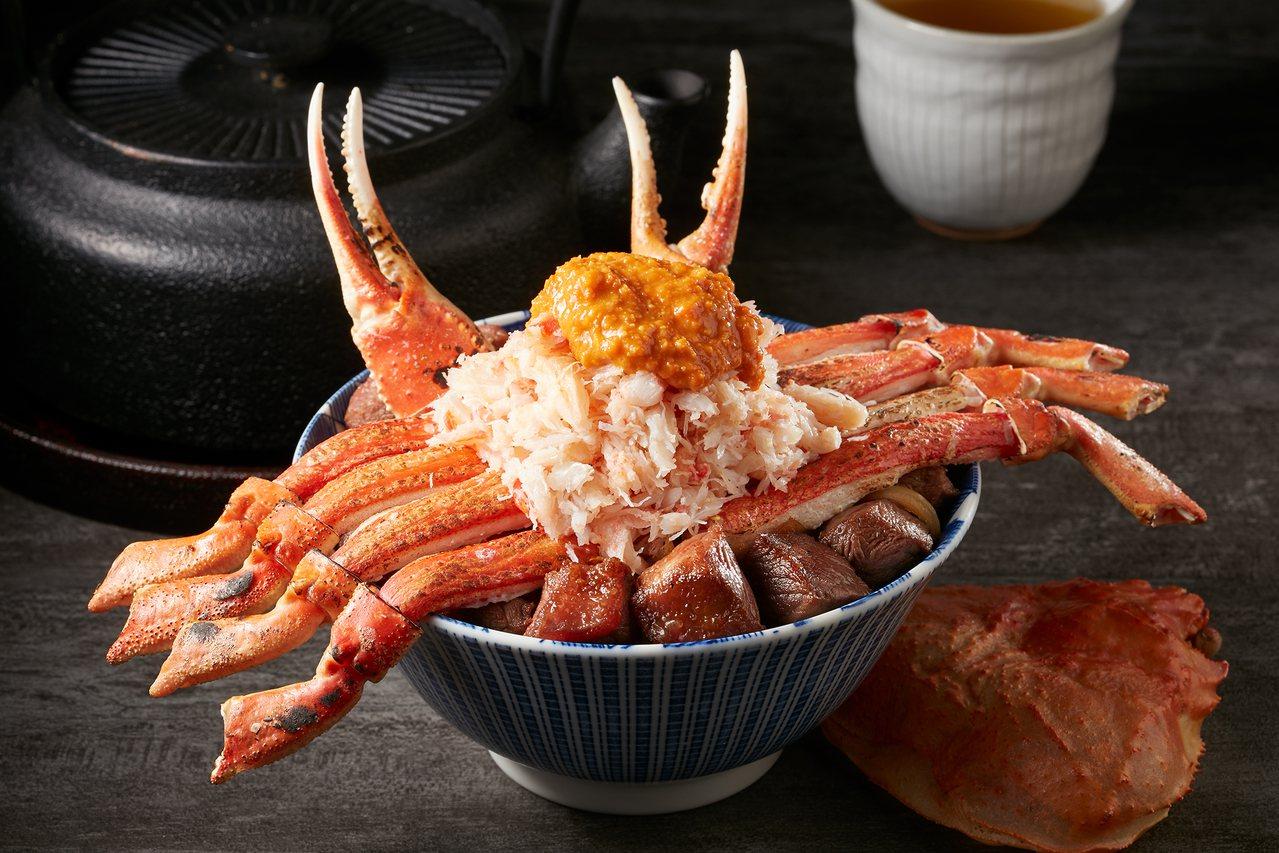 「蟹飽王丼」,每日限量20份,每份售價1,090元。圖/開丼提供