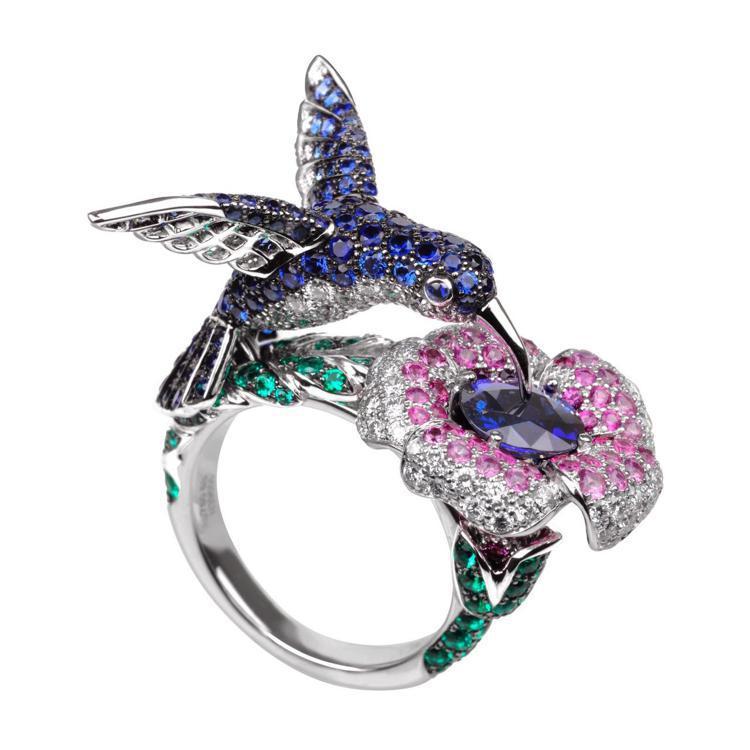 寶詩龍Animaux動物系列蜂鳥指環,190萬元。圖/寶詩龍提供