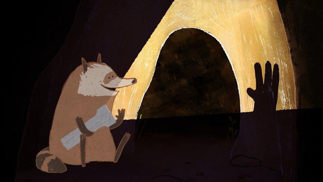 學生奧斯卡最佳動畫得主「浣熊和他的手電筒」俏皮描繪浣熊與手電筒的有趣互動。圖/台