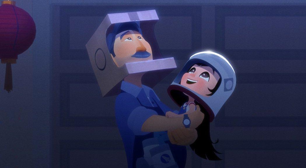 芝加哥兒童影展最佳動畫短片「衝破天際」描述小女孩在父親的守護下追逐太空夢。圖/台...