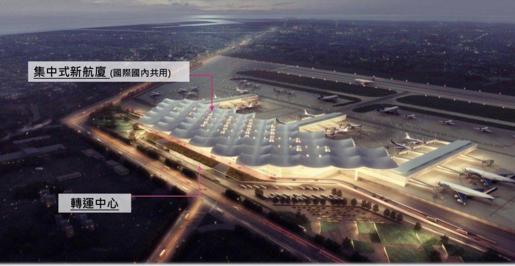 結合捷運、轉運中心與國際航廈成一體的集中式航廈模擬示意圖。記者徐白櫻/翻攝