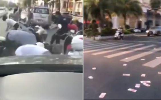 路上現金佈滿地,民眾搶翻。圖片來源/泉州晚報