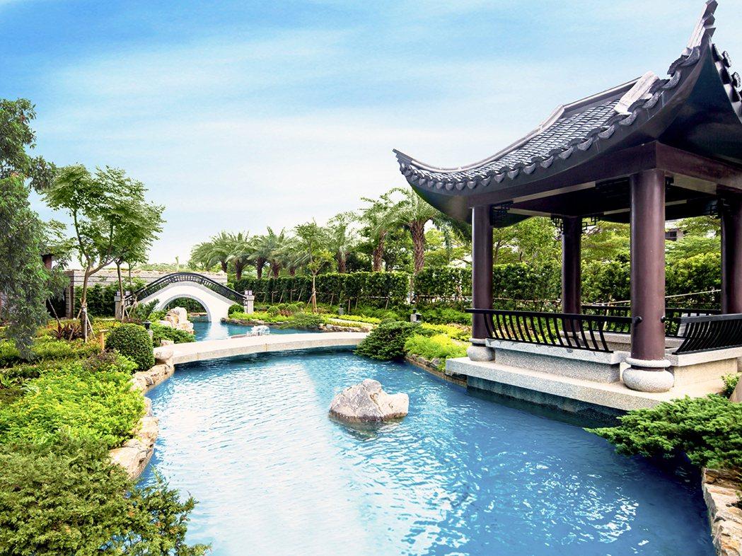 近8800坪的台北灣江南大宅-園林現場實景。江南大宅/提供