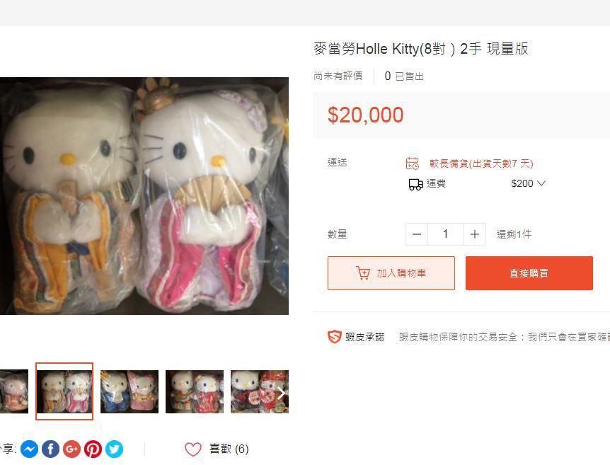 當年Hello Kitty限量玩偶已變成絕版品,在拍賣網站上,有賣家喊出8對二手...