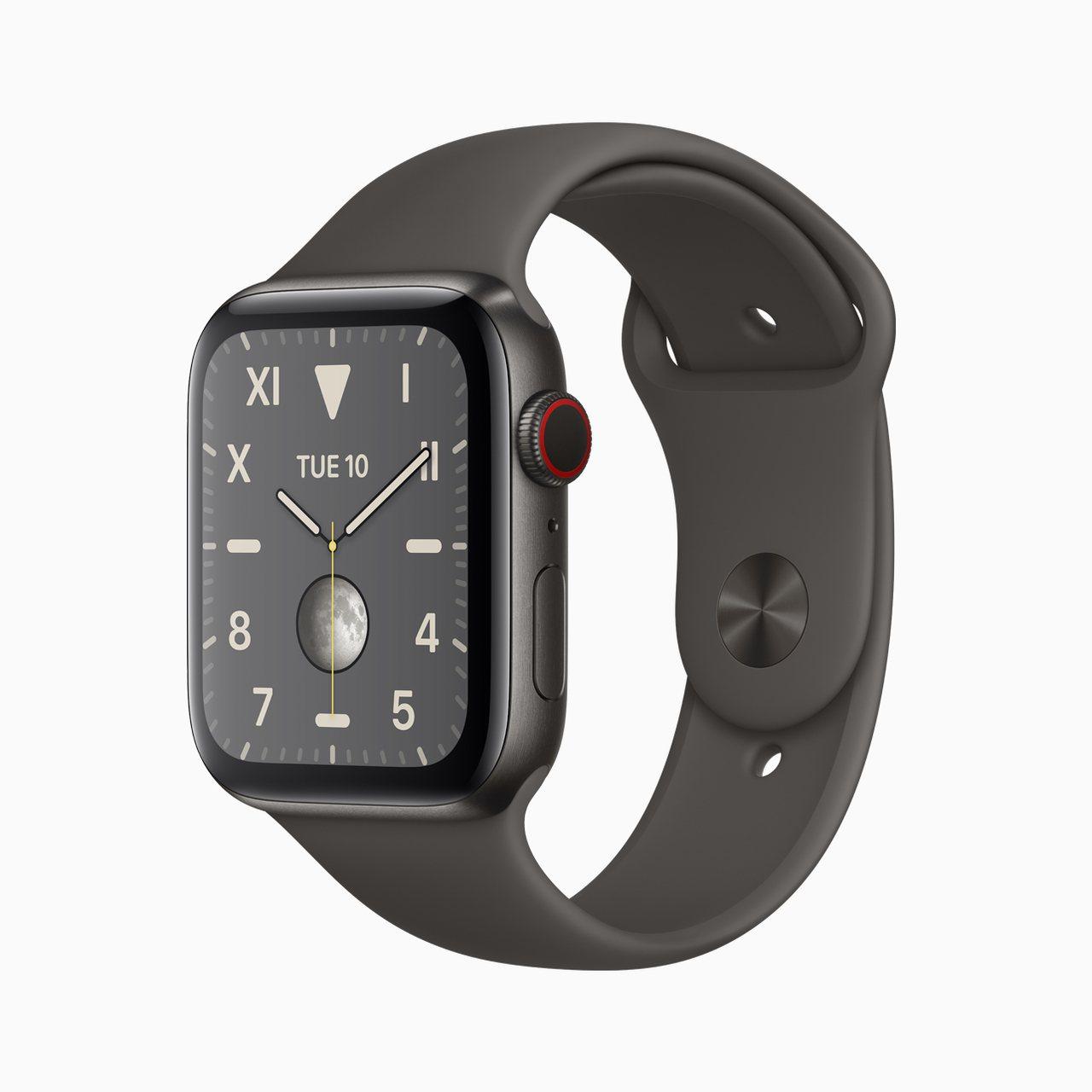 鈦金屬材質錶殼的Apple Watch Series 5。圖/蘋果提供
