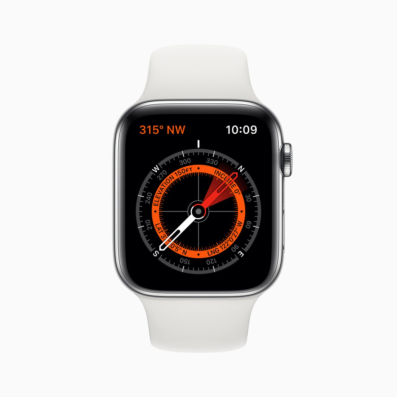 Apple Watch Series 5內建指南針功能。圖/蘋果提供