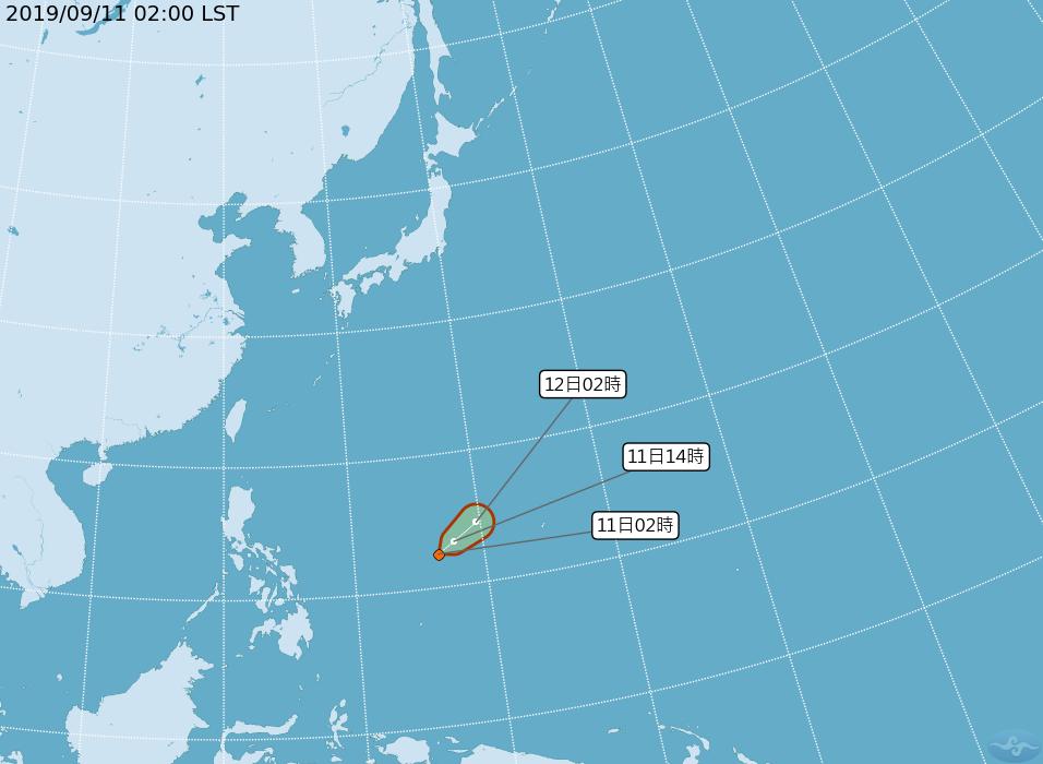 最新中央氣象局路徑潛勢預測圖顯示,今晨2時位於菲律賓東方海面的熱帶雲系,已發展為...