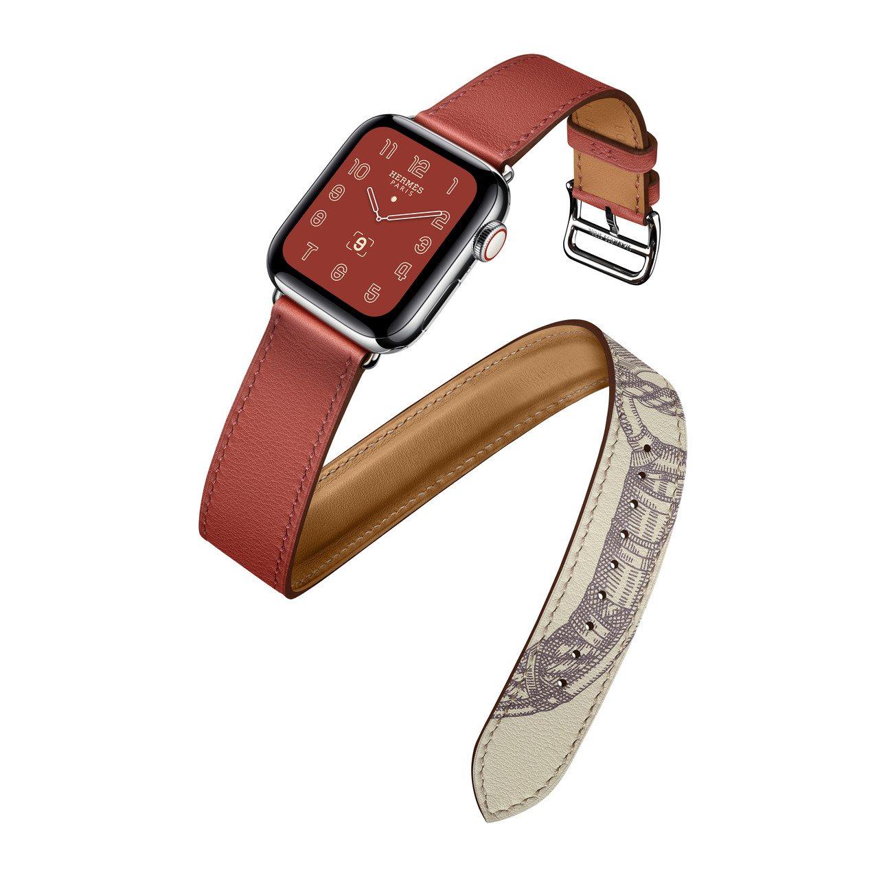 第五代Apple Watch Hermès系列40毫米表殼磚紅色與Della C...