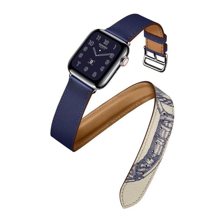 第五代Apple Watch Hermès系列40毫米表殼墨水藍與Della C...
