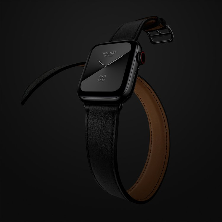 第五代Apple Watch Hermès系列40毫米表殼純黑雙圈Swift小牛...