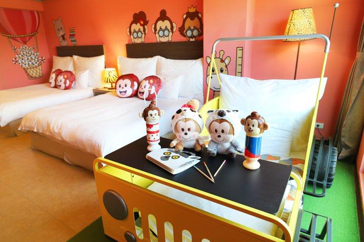 六福莊新推出的「哈比哈妮主題房」。圖/六福村提供
