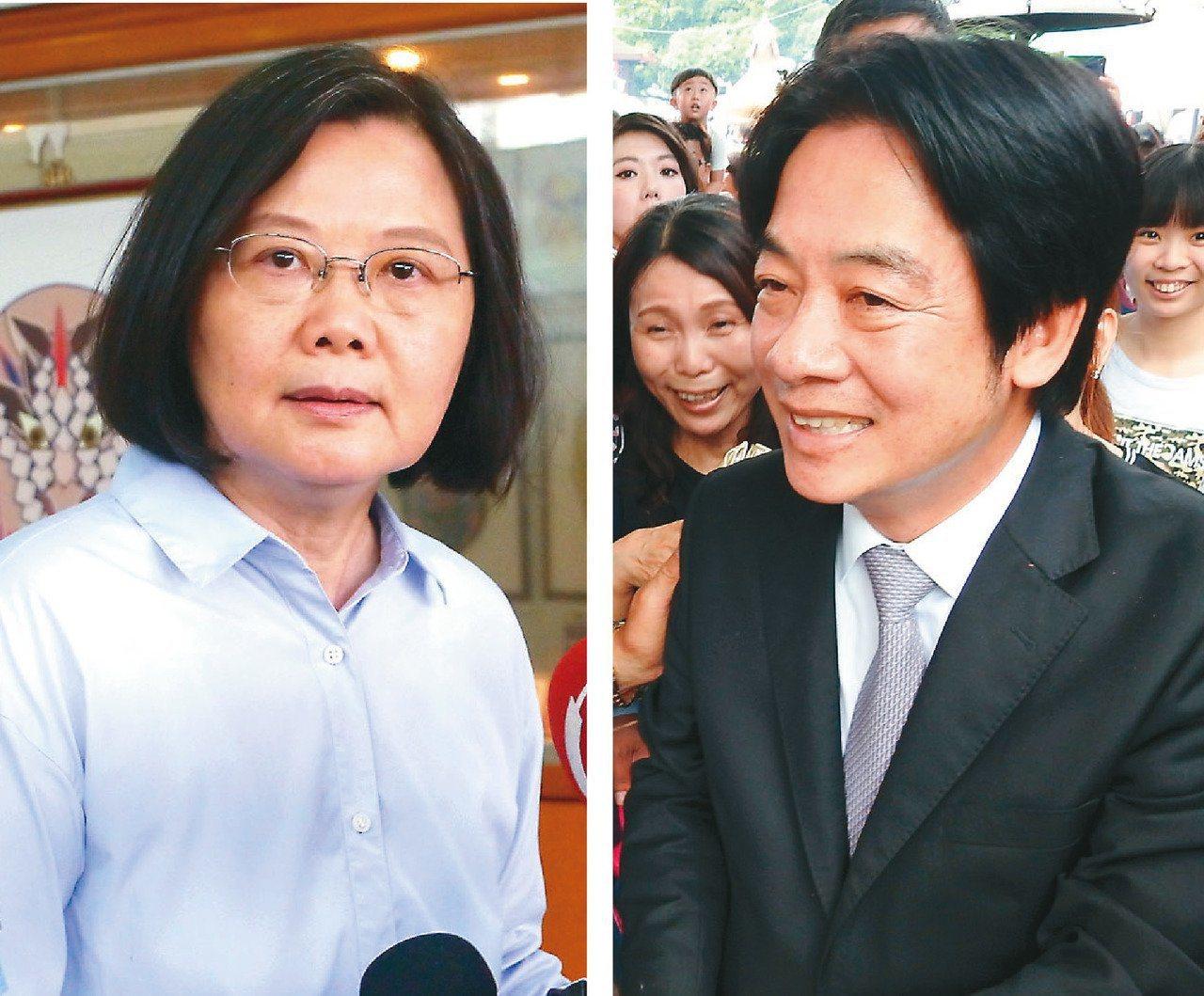 蔡總統(左)拚連任,與行政院前院長賴清德(右)的合作也成為話題。圖/聯合報系資料...